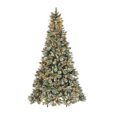Glittery Bristle Pine Tree With Clear Lights, 9'