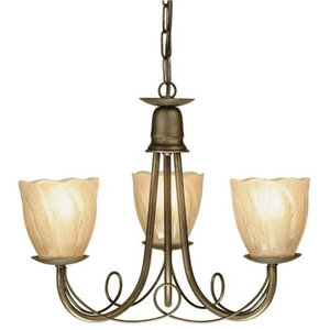 Gothic 3-Arm Chandelier With Glass Shades