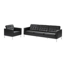 Modway Loft 2 Piece Leather Sofa And Armchair Set With Black EEI-3099-BLK-SET