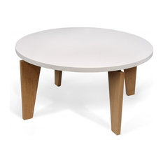 Temahome - TemaHome MAGNOLIA  table basse blanche piétement chêne massif - Table Basse
