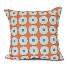 Mix Up, Geometric Print Outdoor Pillow,Orange,16 x 16 inch