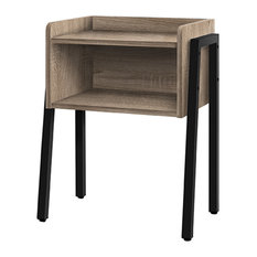 23-inch Accent Nightstand With Open Storage Shelf And Metal Legs Dark TaupeBlack
