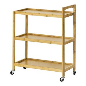 Modern 3-Tier Serving Trolley Cart With Bamboo Wood Frame and MDF Shelves