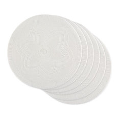 White Floral Pp Woven Round Placemat, Set Of 6