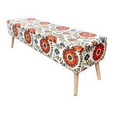 """52"""" Lift Top Upholstered Storage Ottoman With Wooden Legs, Retro Floral"""