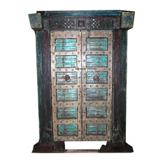 Mogulinterior - Consigned Antique Indian Hand-Carved Haveli Teak Wood Double Door & Frame - Bookcases