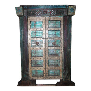 Mogulinterior - Consigned Antique Indian Hand-Carved Haveli Teak Wood Double Door & Frame - Interior Doors