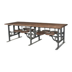 100-inch L Dining Table 8 Attached Stools Industrial Iron Base Teak Wood Surfaces