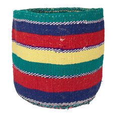 Kenyan Handwoven Basket, Blue, Red and Green Stripe