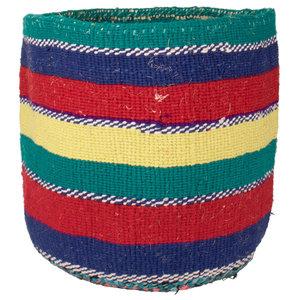 Kenyan Handwoven Basket, Blue, Red and Green Stripe