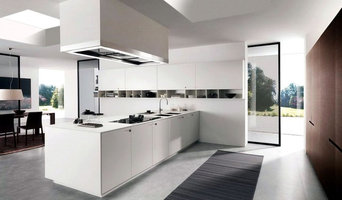 Spacious white modern kitchen with rooflights
