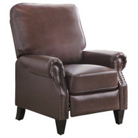 Abbyson Living Carla Leather Pushback Recliner, Brown