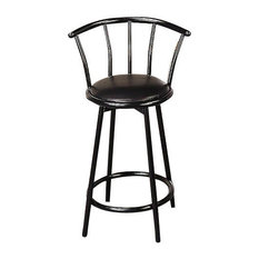 """Coaster Buckner 24"""" Metal Bar Stool With Faux Leather Swivel Seat, Set of 2"""