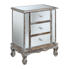 Gold Coast Vineyard 3-Drawer Mirrored End Table, Weathered White