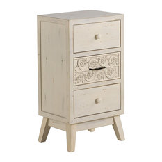 Retro Spruce Wood Carved Bedside Table, 3 Drawers