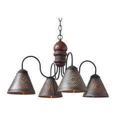 Cambridge 4-Light Wood Chandelier in Americana Colors, Red