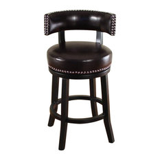 1st Avenue Orsino Bicast Leather Swivel Counter Stool Dark Brown Bar Stools And