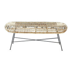 Rattan and Metal Dining Bench