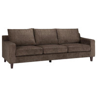 "Marisa Contemporary 91"" Wide Sofa, Deep Umber Brown Chenille Look Fabric"