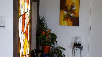 Panneau lumineux en vitrail