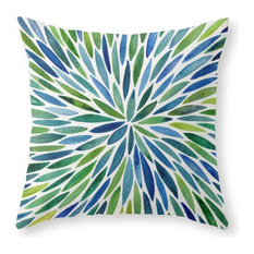 "Watercolor Burst, Blue and Green Throw Pillow Cover, 20""x20"" With Pillow Insert"