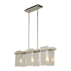 3-Light, 60W Multi Light Linear Pendant, Polished Nickel/Clear Glass
