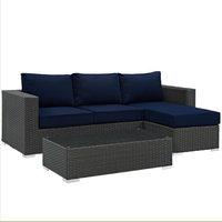 Modern Contemporary Urban Design Living Sectional Sofa Set, Navy Blue, Rattan