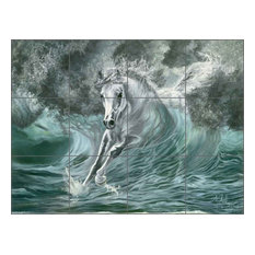 "Ceramic Tile Mural Backsplash, Poseidon's Gift by Kim McElroy, 24""x18"""