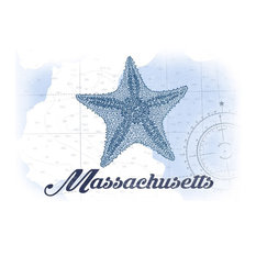 Massachusetts, Starfish, Blue, Coastal Icon  Print, 16 x24
