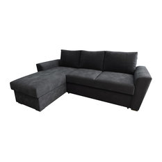 Direct Furniture Suppliers - Stanford Chenille Fabric Corner Sofa Bed, Charcoal - Sofa Beds