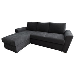 Stanford Chenille Fabric Corner Sofa Bed, Charcoal