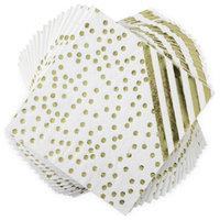 Gold Striped/Polka Dot Paper Dinner Na Packins Set of 20