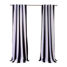 "Awning Black & Fog White Stripe Blackout Curtain, Set Of 2, 50""x96"""