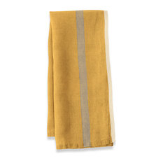 Khadhi Laundered Linen Tea Towels Mustard and Gray Stripe, Set of 2