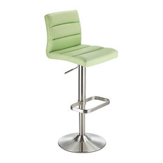 Swank Adjustable Padded Faux Leather Kitchen Bar Stool, Brushed Steel, Green