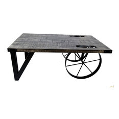inspire at home solid mango wood cast iron coffee table distressed gray coffee