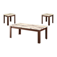 Carly Coffee/End Table Set Faux Marble & Cherry Pack Of 3 Piece