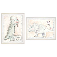 """Whimsical Dinosaurs"" 2-Piece Vignette by Mia Russell, White Frame"