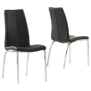 Carsen Dining Chairs, Black Faux Leather, Set of 2
