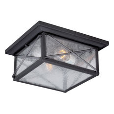 Nuvo Wingate 2-Light Outdoor Flush Mount, Clear Glass, Textured Black, 60-5626