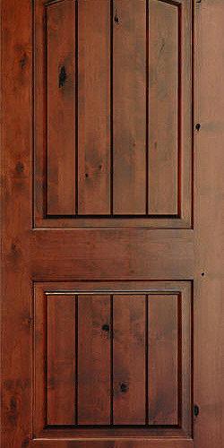 homestead doors inc rustic arch 2 panel v grooved knotty alder wood - Rustic Wood Interior Doors