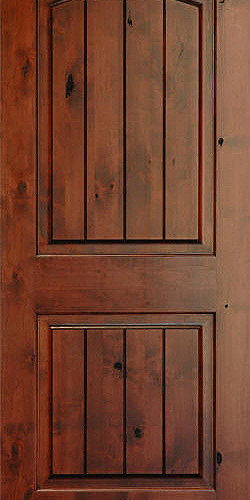Homestead Doors, Inc   Rustic Arch 2 Panel V Grooved Knotty Alder Wood