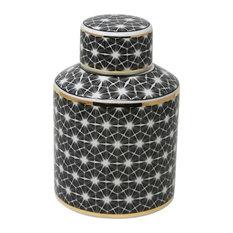 "Sagebrook Home White/Black Jar With Gold Edge 9"""