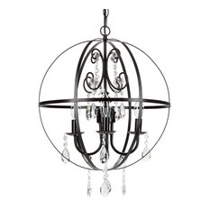 Amalfi Decor - Luna 4-Light Wrought Iron Crystal Orb Chandelier, Black -  Chandeliers