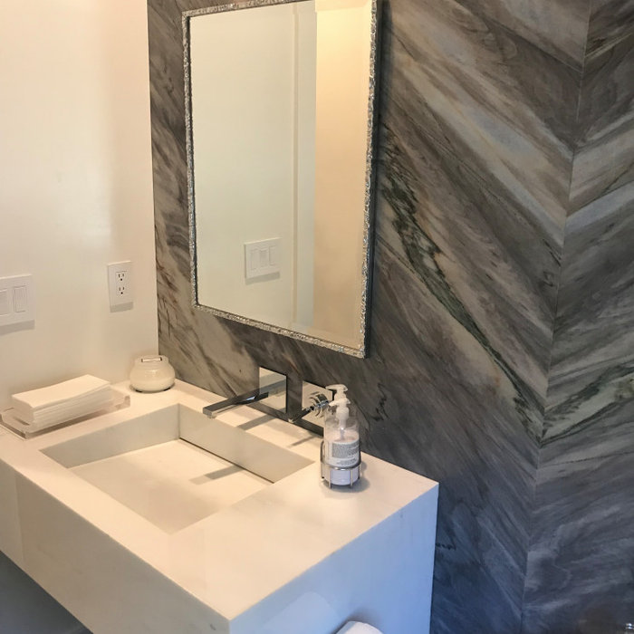 Ladera Ranch Custom Vanity & Quartzite Wall