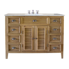 "46"" French Provincial Single Shutter Bath Vanity, Multiple Drawers"