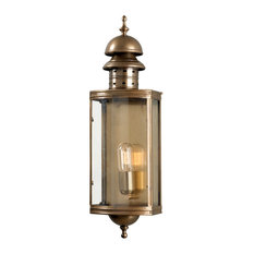 Period Style Solid Brass Aged Exterior Wall Lantern