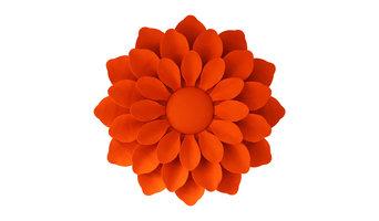 Bright Wool Flower Wall Sculpture, Orange, 115x115 cm