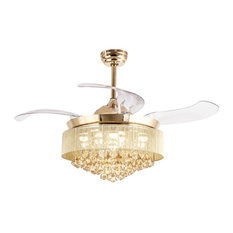 Whoselamp - Crystal Ceiling Fan With Light, French Gold - Ceiling Fans