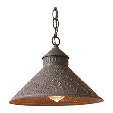 pendant shade lighting. Irvins Country Tinware - Stockbridge Shade Light Pendant With Willow, Blackened Punched Tin Lighting S